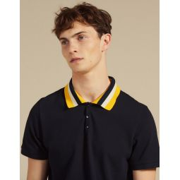 Cotton Polo Shirt With Varsity Collar