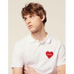 Cotton Pique Polo Shirt, Flocked Heart