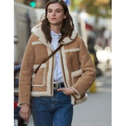 Short Sheepskin Coat With Hood