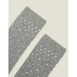Socks embellished with rhinestones