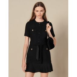 Short dress with pleated skirt bottom