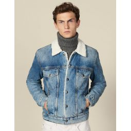 Denim jacket, faux shearling lining
