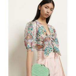 Printed cropped top in linen and silk