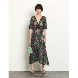 Long dress in printed jacquard
