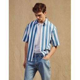 Casual Striped Short-Sleeved Shirt