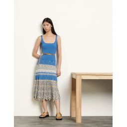Pointelle skirt with chevron stripes