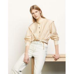 Short shirt with mandarin collar