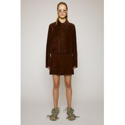 Lace-stitch suede jacket chocolate brown