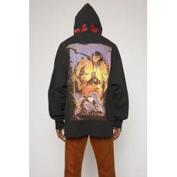 Monster-print hooded sweatshirt black