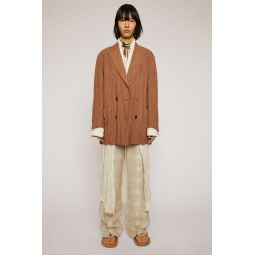 Double-breasted linen jacket mink brown