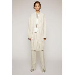 Double-breasted linen coat white melange