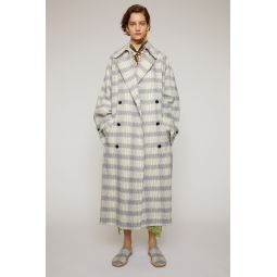 Checked trench coat beige/blue