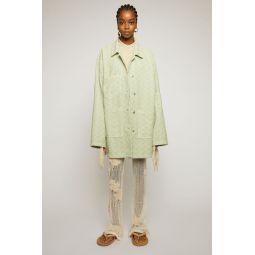 Pinecone-jacquard denim jacket pastel green