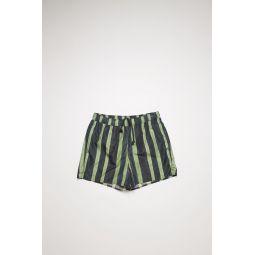 Striped swim shorts navy/green