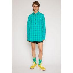 Vichy-check shirt emerald green