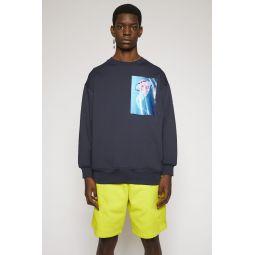 Jellyfish-patch sweatshirt navy blue