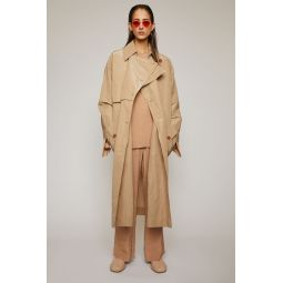 Technical-cotton trench coat brown