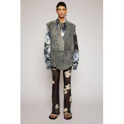 Distressed suede gilet charcoal grey