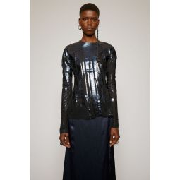 Metallic-print top black