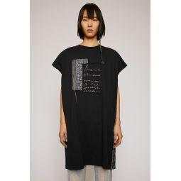 Jacquard-patch sleeveless top black