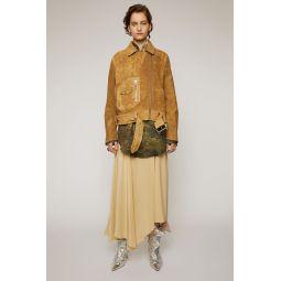 Distressed-suede biker jacket antique brown