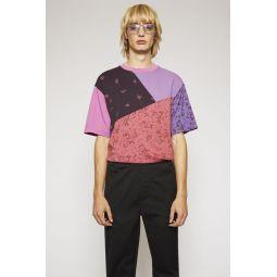 Floral-print patchwork t-shirt magenta pink