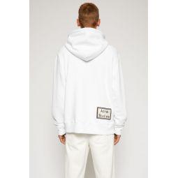 Reverse-label hooded sweatshirt optic white