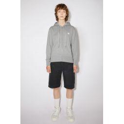 Classic fit hooded zip-up sweatshirt light grey melange