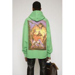 Monster-print hooded sweatshirt apple green