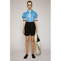 Cotton twill shorts black