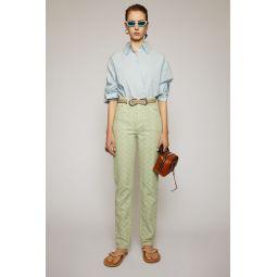 Pinecone-jacquard denim trousers pastel green