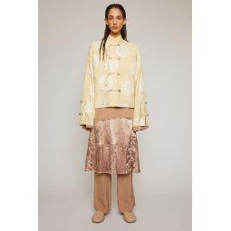 Rose-print jacket cream beige