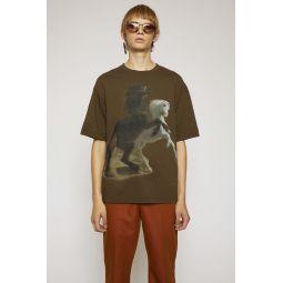Horse-print t-shirt hunter green