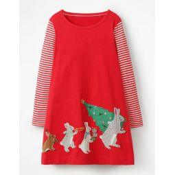Festive Big Applique Dress - Polish Red Festive Bunnies