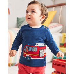 Transport Applique T-Shirt - Beacon Blue Fire Engine