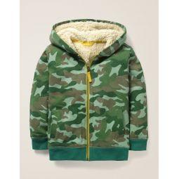 Shaggy-Lined Zip-Up Hoodie - Khaki Green Camo