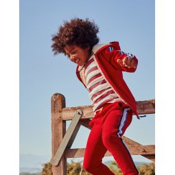Shaggy-Lined Zip-Up Hoodie - Rockabilly Red