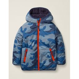 Teddy-Lined Anorak - College Blue Camouflage