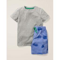 Short Pajama Set - Blue Chambray Camper Vans