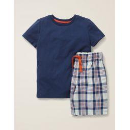 Short Pajama Set - College Blue/Maple Orange