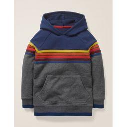 Rainbow Stripe Hoodie - Dark Grey Marl Rainbow