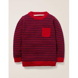 Essential Crew Sweater - College Blue/Rockabilly Red