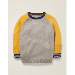 Colourblock Crew Sweater - Grey Marl/Yellow