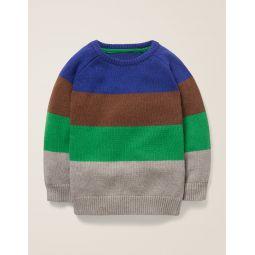 Colourblock Crew Sweater - Blue Heron/Terrier Brown