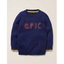 Graphic Crew Sweater - College Blue Epic