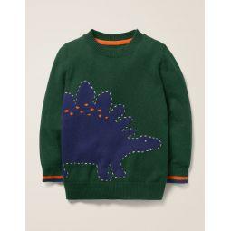 Graphic Crew Sweater - Green Dinosaur