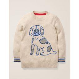 Graphic Crew Sweater - Oatmeal Marl Dog