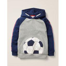 Football Hoodie - Mid Grey Marl Football