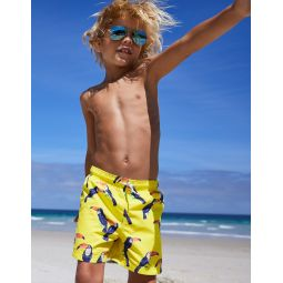 Woven Swim Trunks - Pop Yellow Tropical Toucans