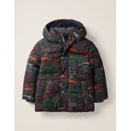 Water Resistant Padded Jacket - Charcoal Grey Dinosaurs